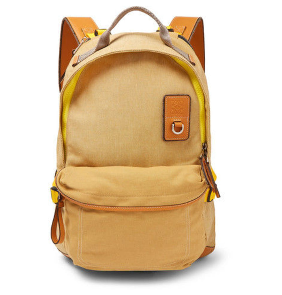 eye/LOEWE/nature - Leather-trimmed Canvas Backpack - Beige