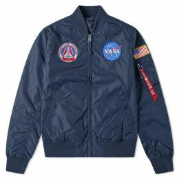 Alpha Industries MA-1 TT NASA Reversible Jacket Replica Blue & Stars