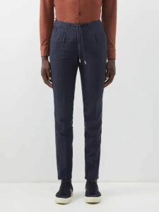 Denis Colomb - Voyageur Striped Linen Trousers - Mens - Navy Multi