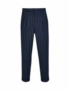 Mens Navy Skinny Fit Pinstripe Trousers, Blue