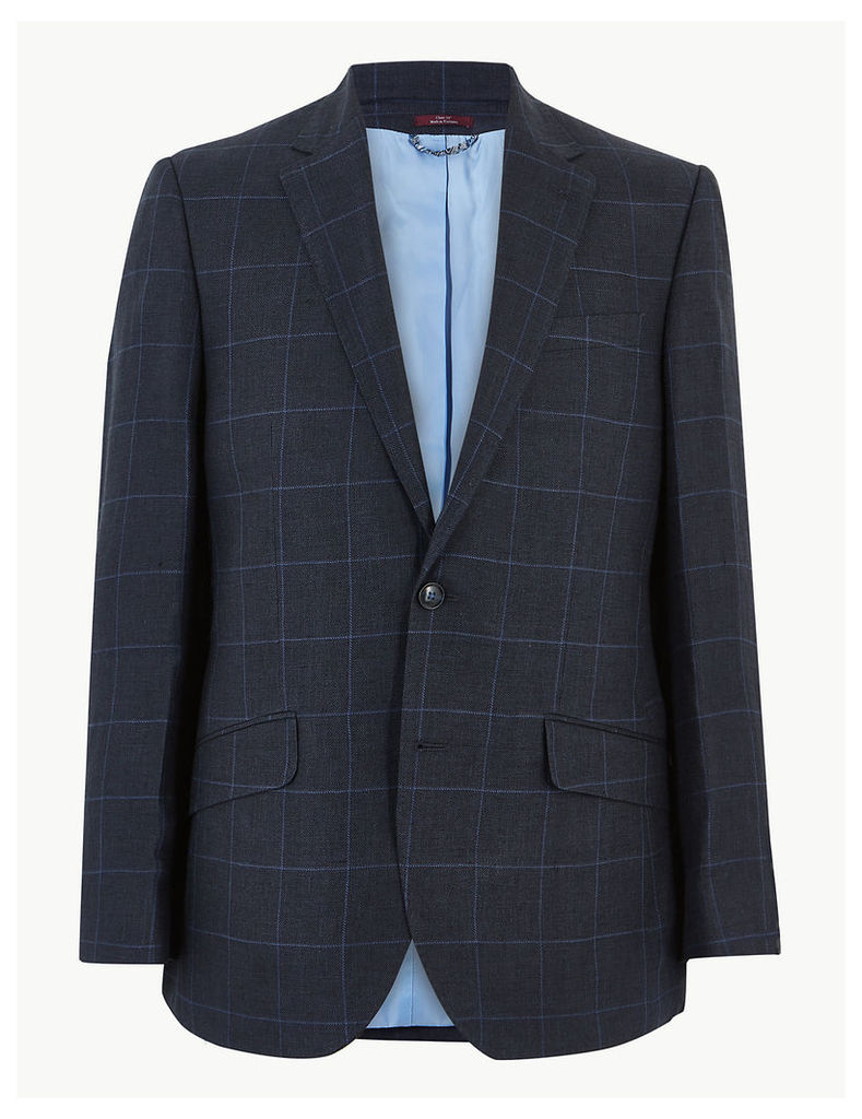 M&S Collection Luxury Navy Pure Linen Checked Regular Fit Jacket