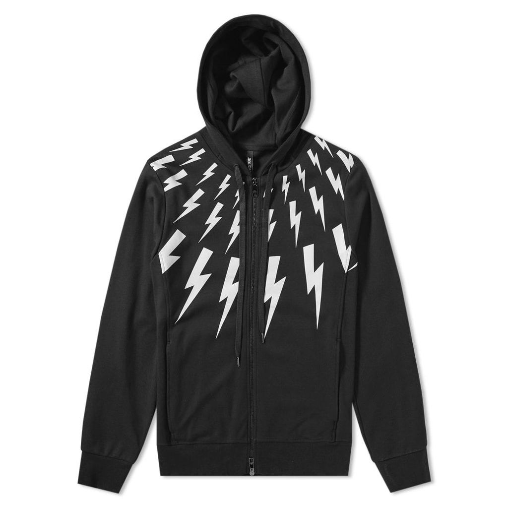 Neil Barrett Fair Isle Lightning Bolt Zip Hoody Black & White