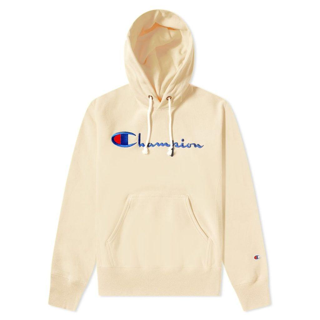 Champion Reverse Weave Script Logo Hoody Oat