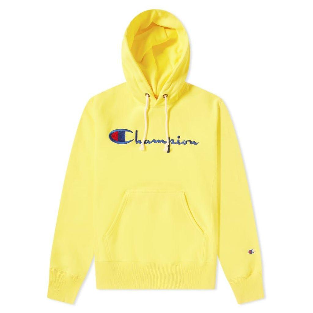 Champion Reverse Weave Script Logo Hoody Yellow