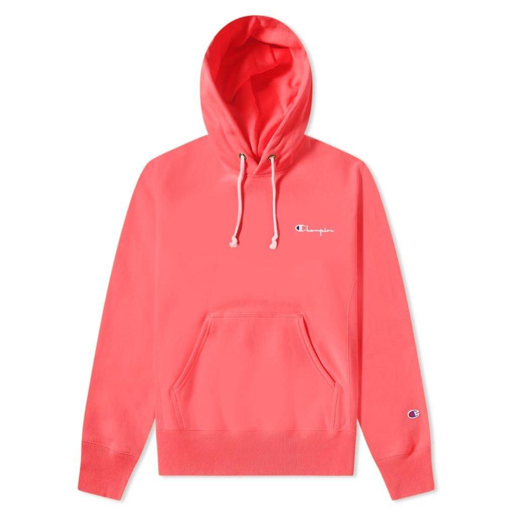 Champion Reverse Weave Small Script Logo Hoody Fluo Pink