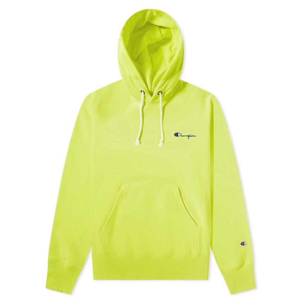 Champion Reverse Weave Small Script Logo Hoody Lime