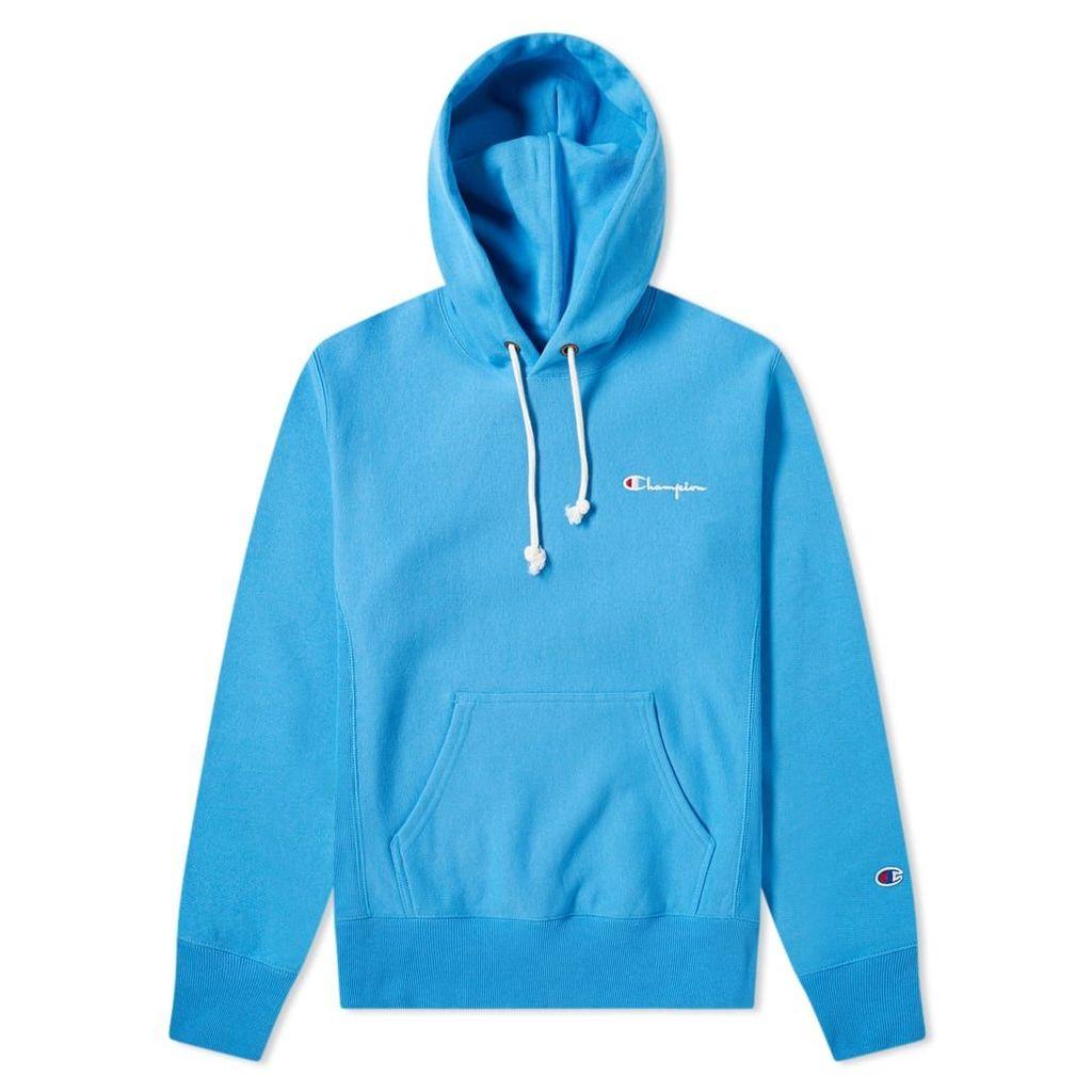 Champion Reverse Weave Small Script Logo Hoody Ocean Blue