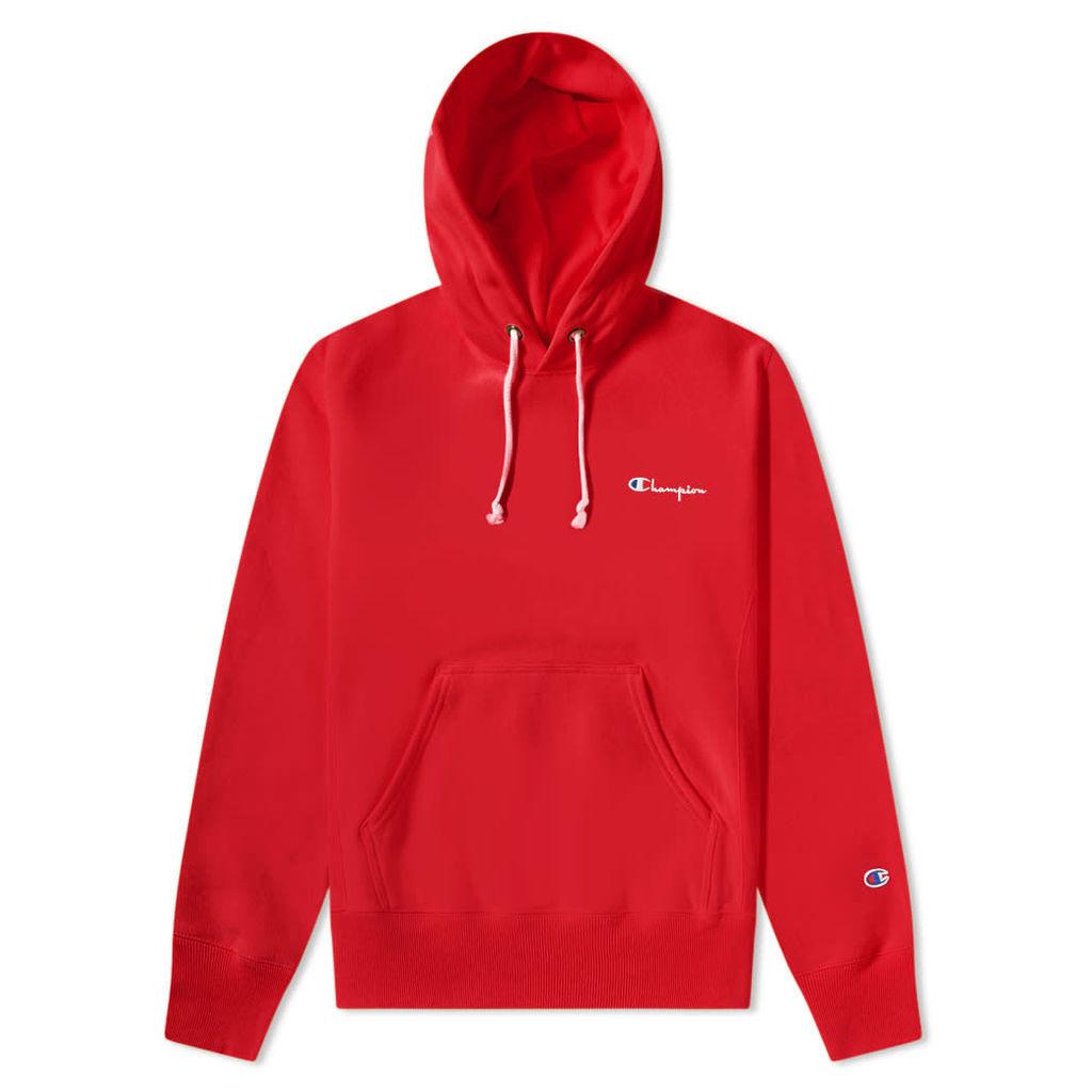 Champion Reverse Weave Small Script Logo Hoody Red