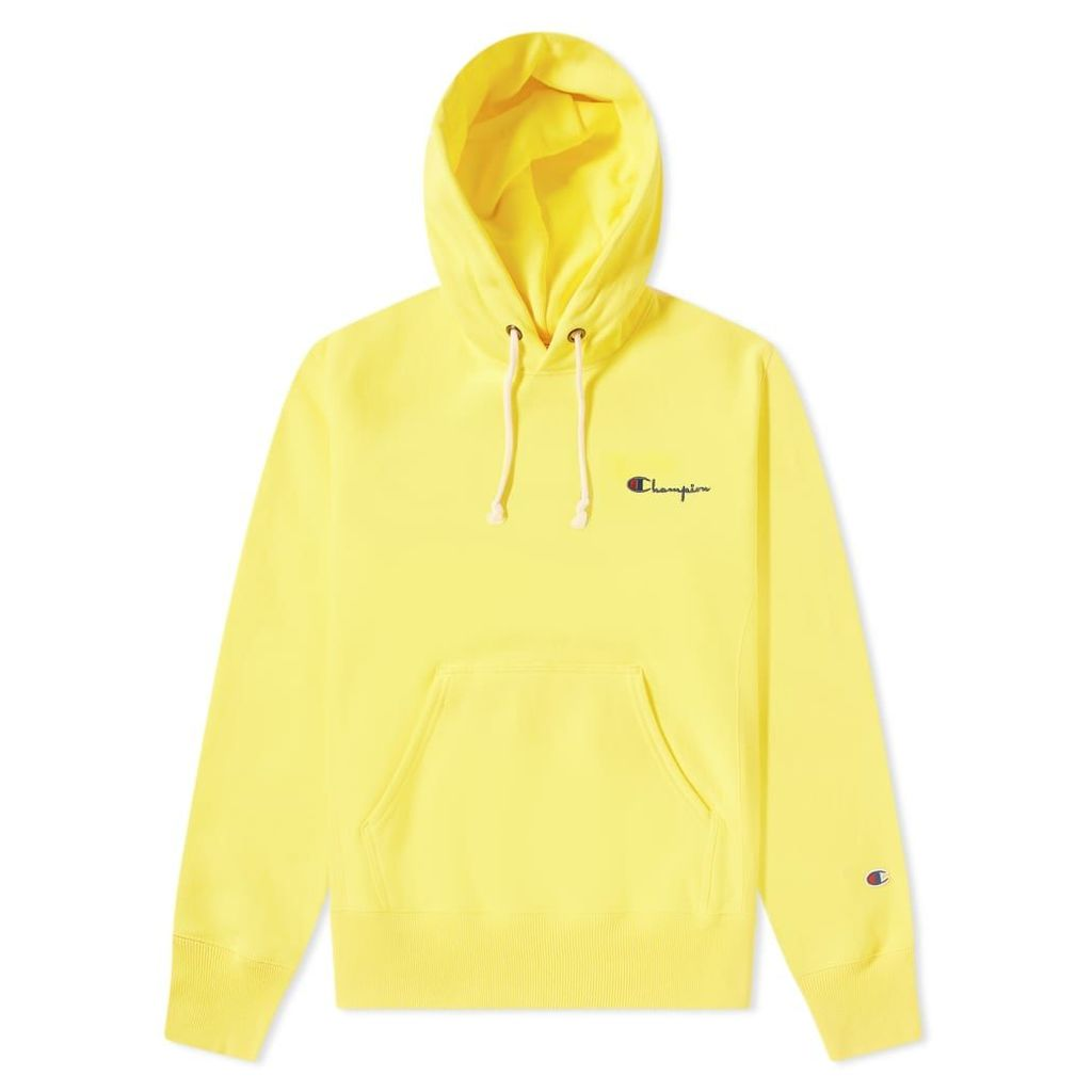 Champion Reverse Weave Small Script Logo Hoody Yellow