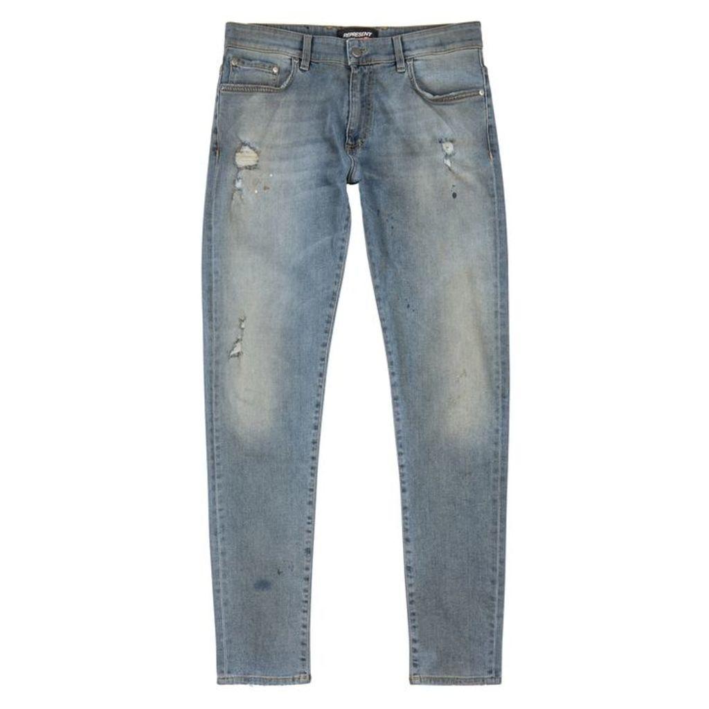 Represent Blue Distressed Skinny Jeans