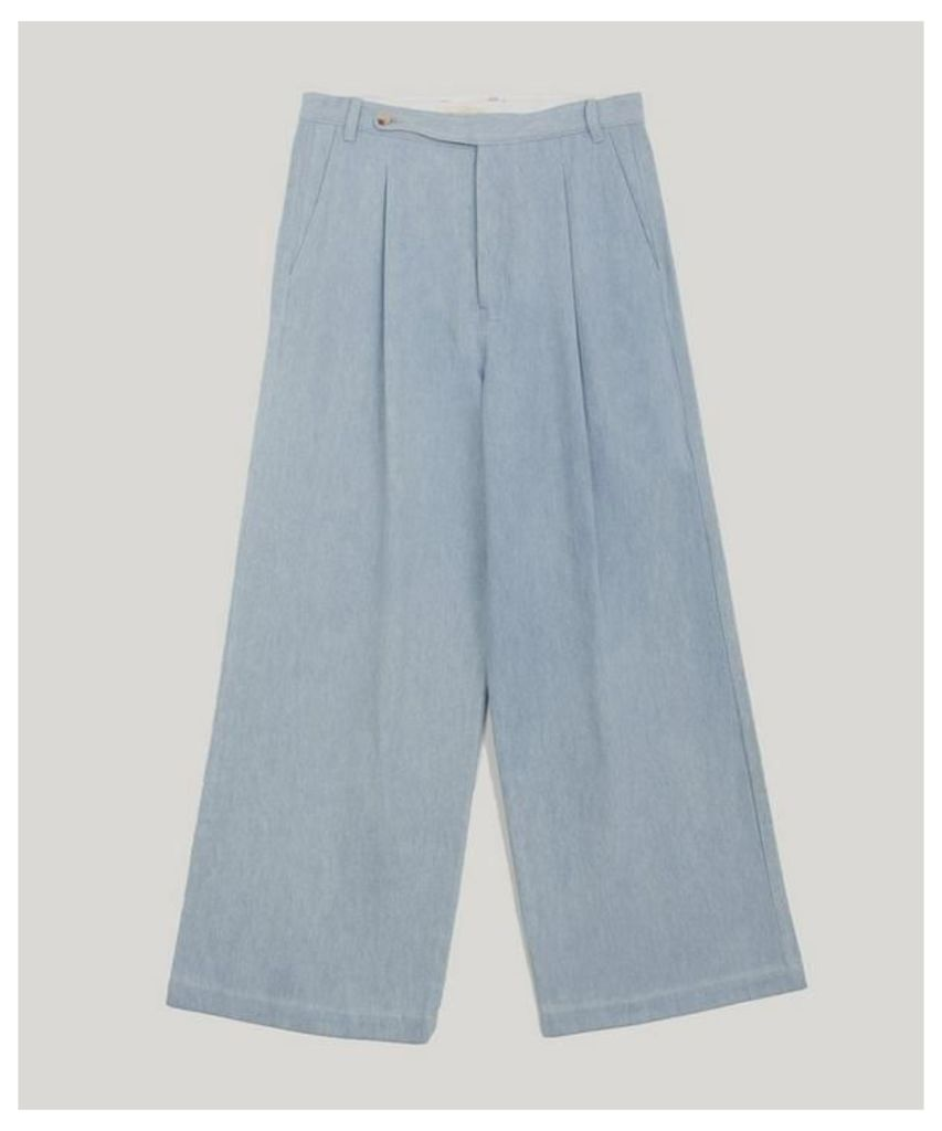 Faded Wide Leg Cotton Trousers