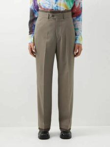 Hecho - Mid Rise Striped Linen Trousers - Mens - Navy