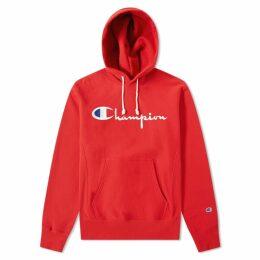 Champion Reverse Weave Script Logo Hoody Red
