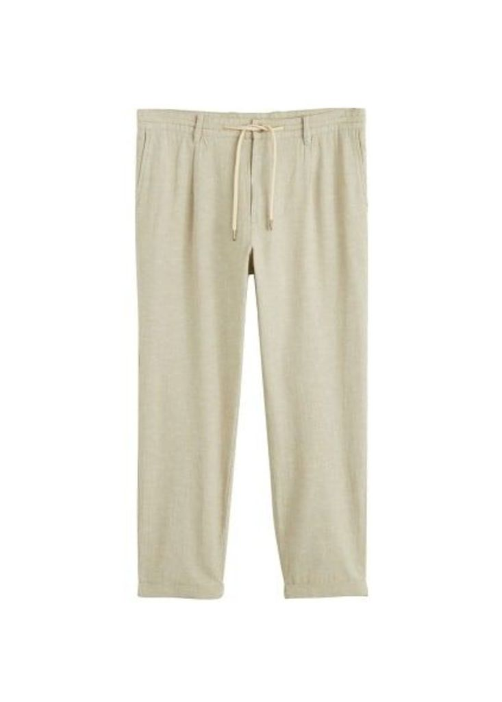 Jogger-style cotton linen trousers