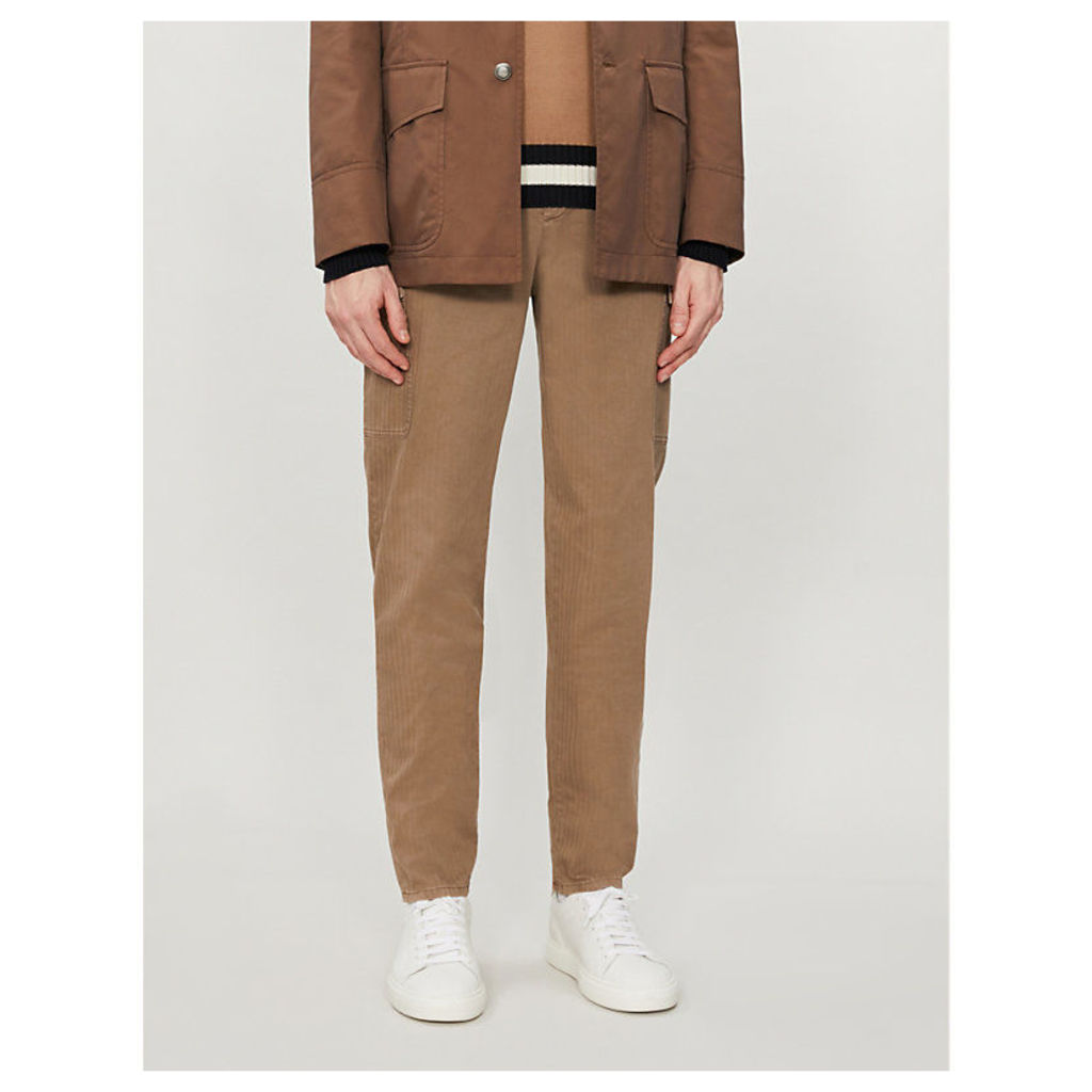 Slim-fit straight stretch-cotton cargo trousers