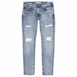 Mens River Island Pepe Jeans light Blue Stanley ripped jeans