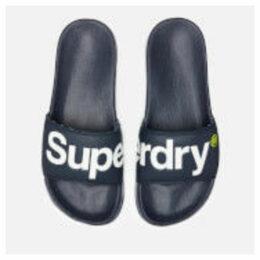 Superdry Men's Pool Slide Sandals - Dark Navy/Optic White/Fluro Lime - L/UK 10-11 - Blue