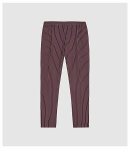 Reiss Dam - Striped Casual Trousers in Bordeaux, Mens, Size 38