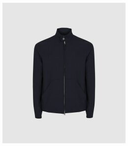 Reiss Como - Seersucker Harrington Jacket in Navy, Mens, Size XXL