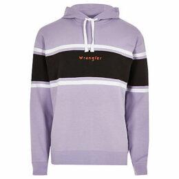Mens River Island Wrangler light Purple colour block hoodie