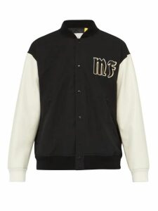 7 Moncler Fragment - Logo Appliqué Contrast Panel Cotton Bomber Jacket - Mens - Black Multi