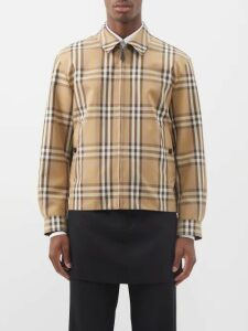 Deveaux - Checked Single Breasted Cotton Jacket - Mens - Beige Multi