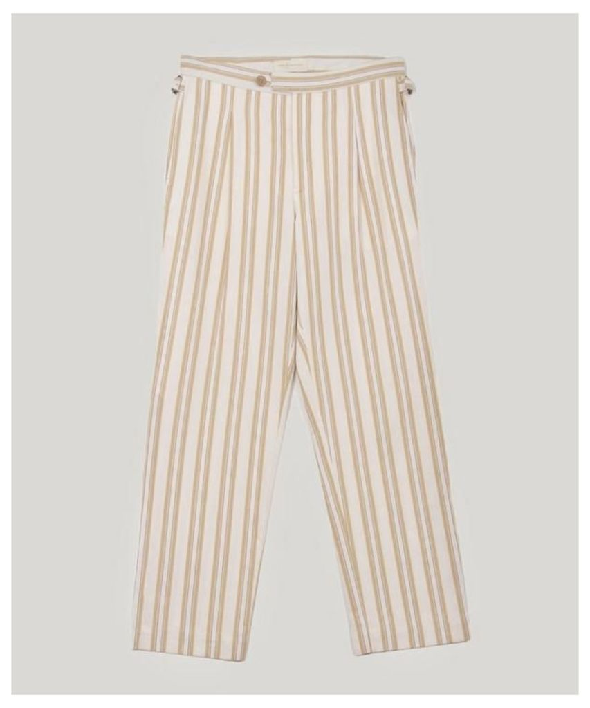 Striped Pleated Cotton Trousers