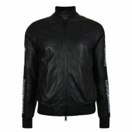 Emporio Armani Tape Logo Leather Bomber Jacket