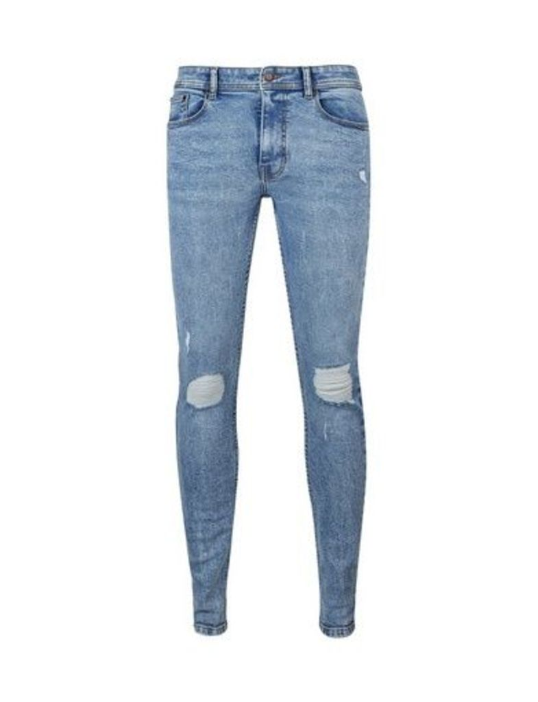 Mens Light Blue Open Ended Ripped Ethan Super Skinny Fit Jeans, Blue