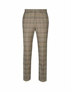 Mens Brown And Navy Prince Of Wales Check Slim Fit Trousers, NAVY