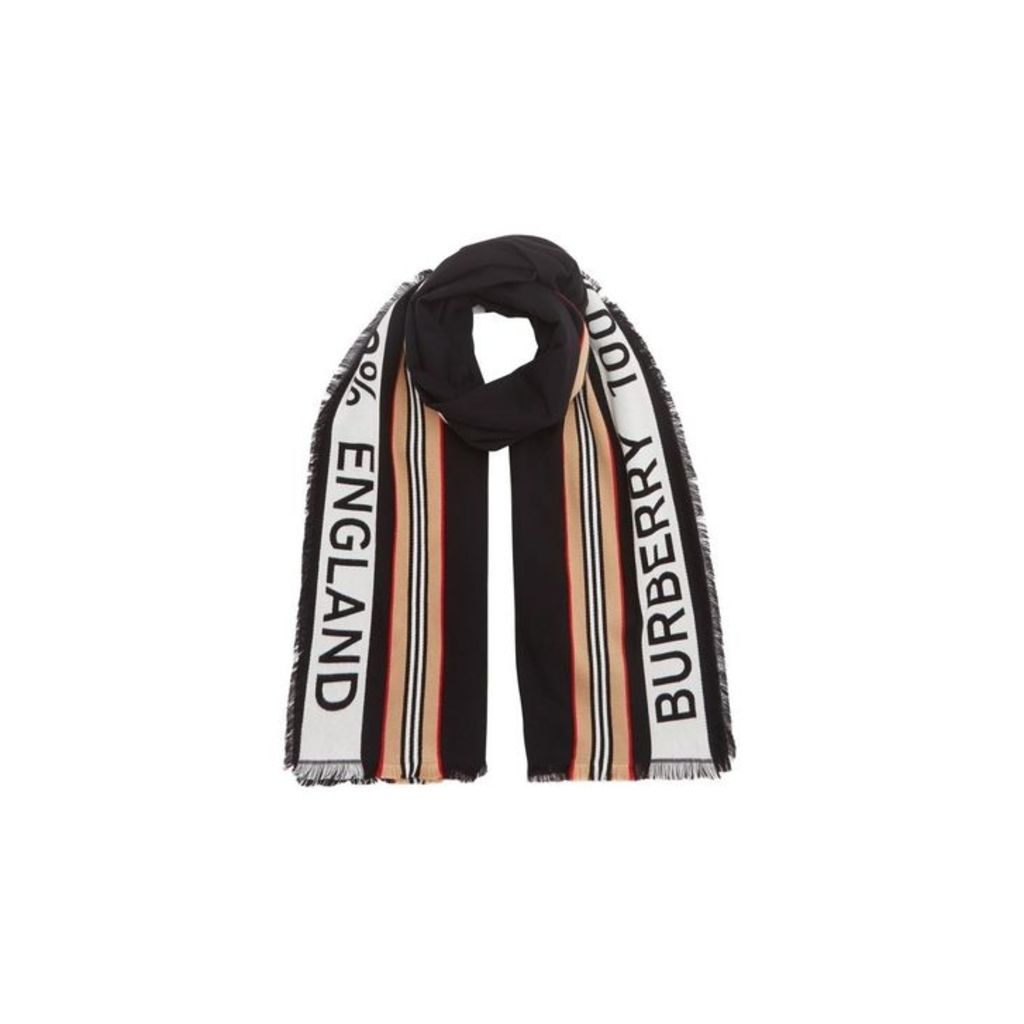 Burberry Icon Stripe Logo Detail Cotton Scarf