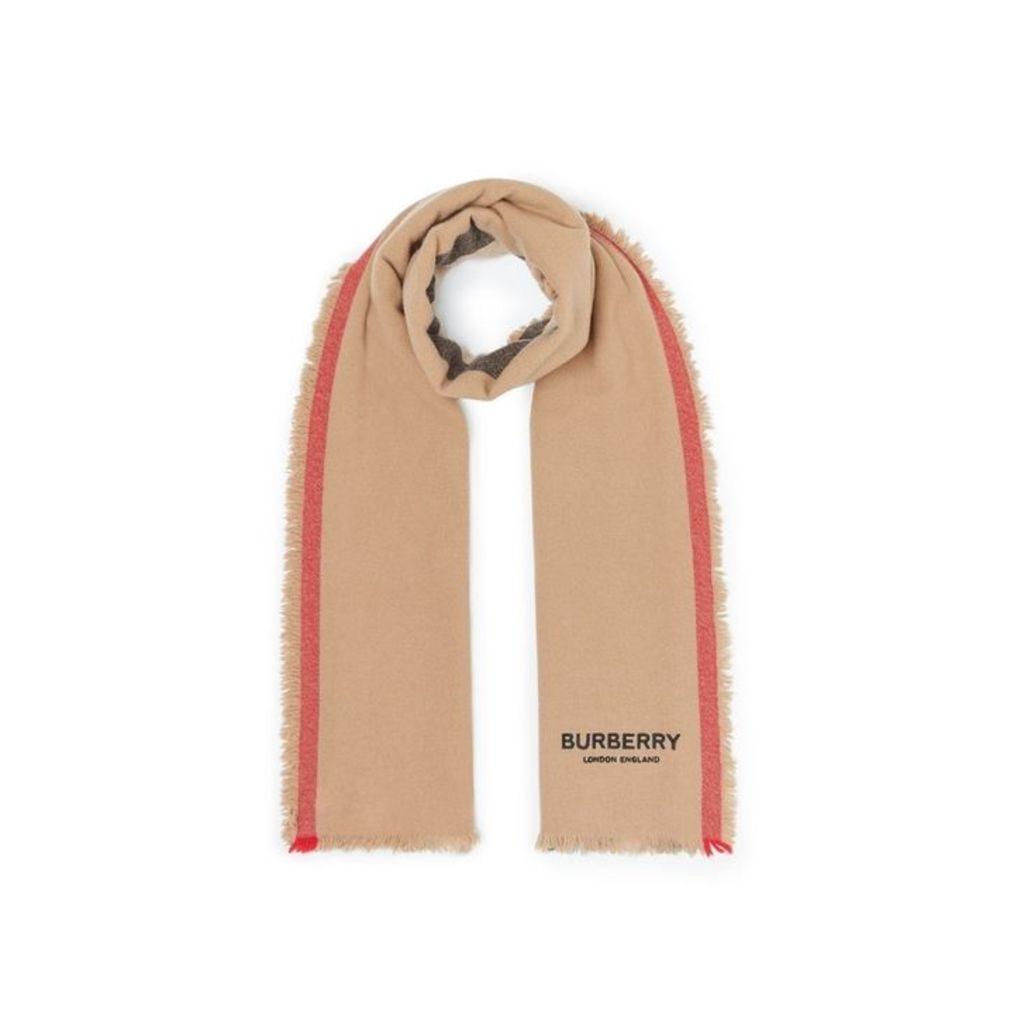 Burberry Icon Stripe Wool Cashmere Scarf