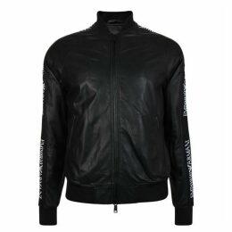 Emporio Armani Tape Logo Leather Bomber Jacket