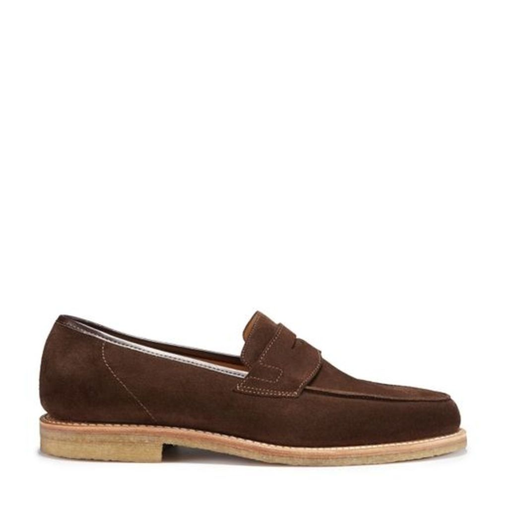 Hugs & Co Brown Suede Loafers Crepe Rubber Welted Sole