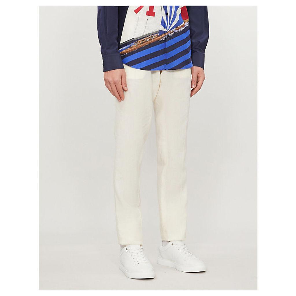 Regular-fit drawstring-waistband linen trousers
