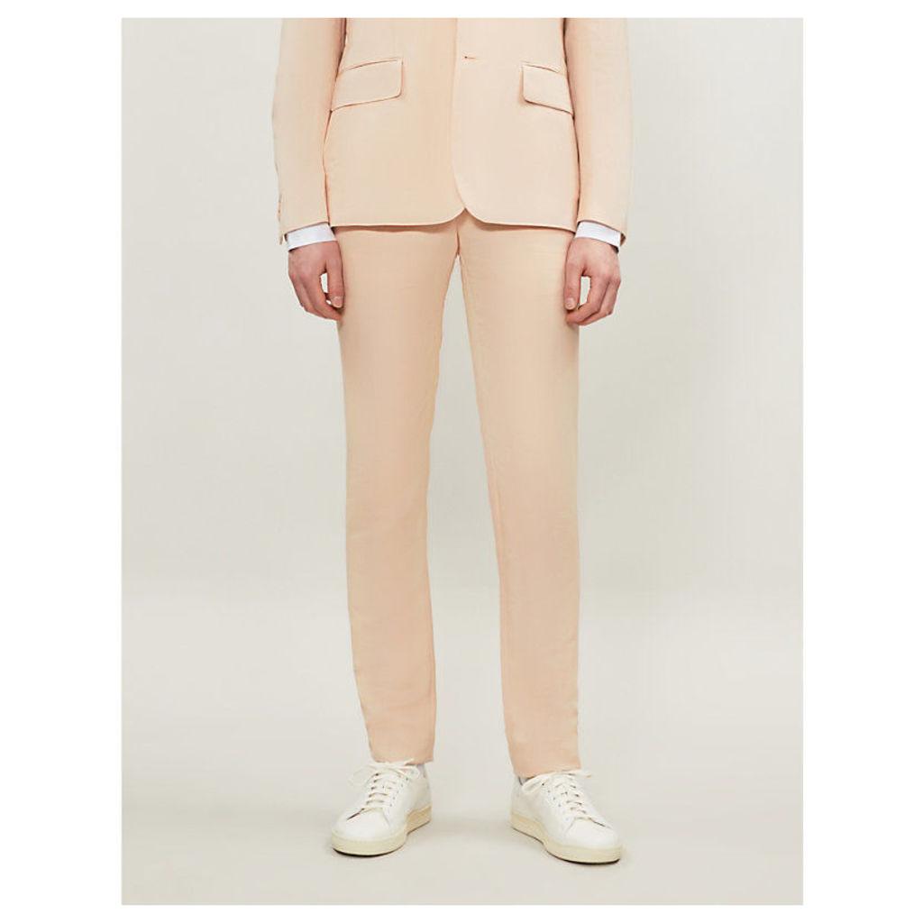 Slim-fit linen-blend trousers