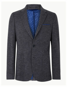 M&S Collection Cotton Blend Textured Slim Fit Jacket