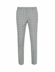 Mens Black And White Checked Super Skinny Fit Trousers, BLACK/WHITE