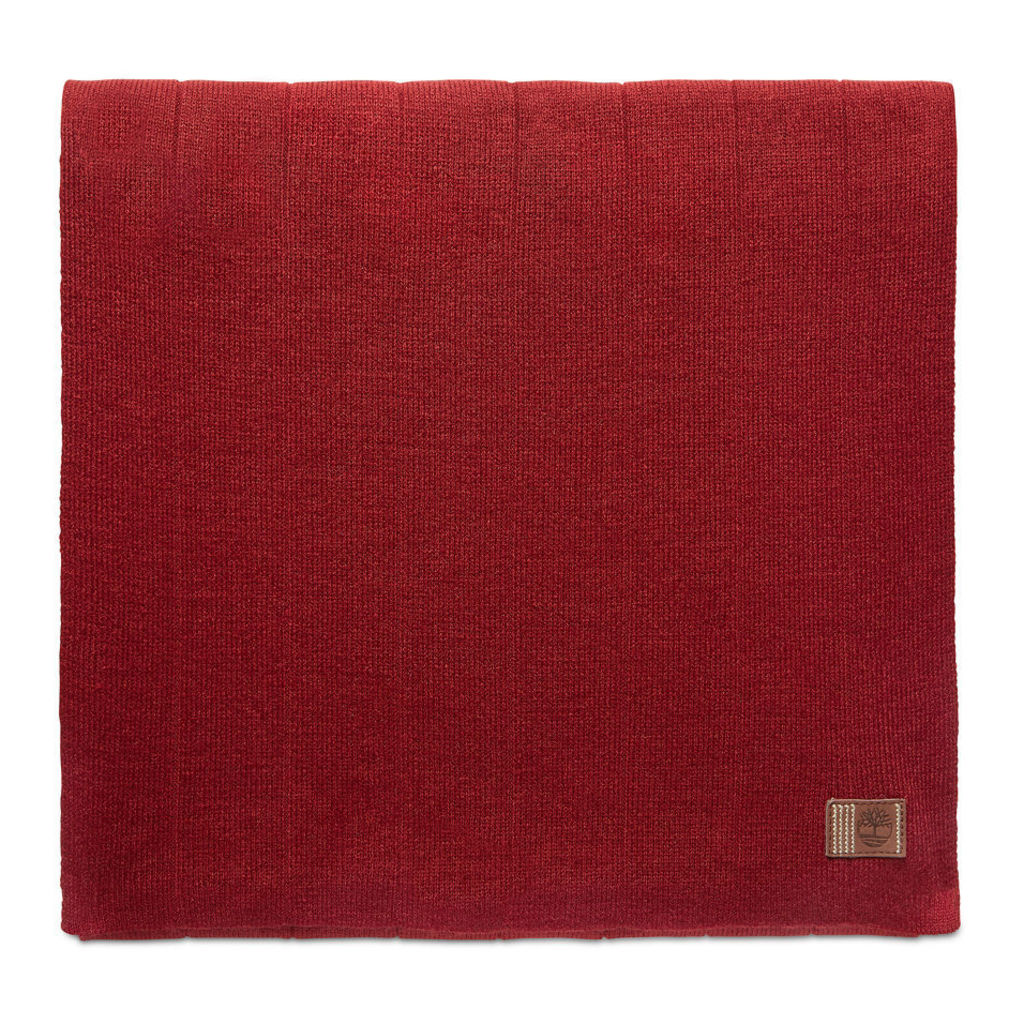 Timberland Ribbed Scarf For Men In Red Red, Size ONE