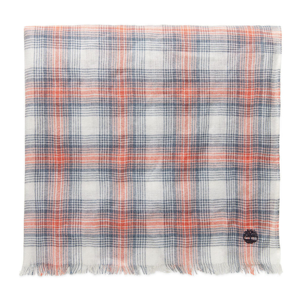 Timberland Plaid Scarf For Men In Indigo/red Indigo/red, Size ONE