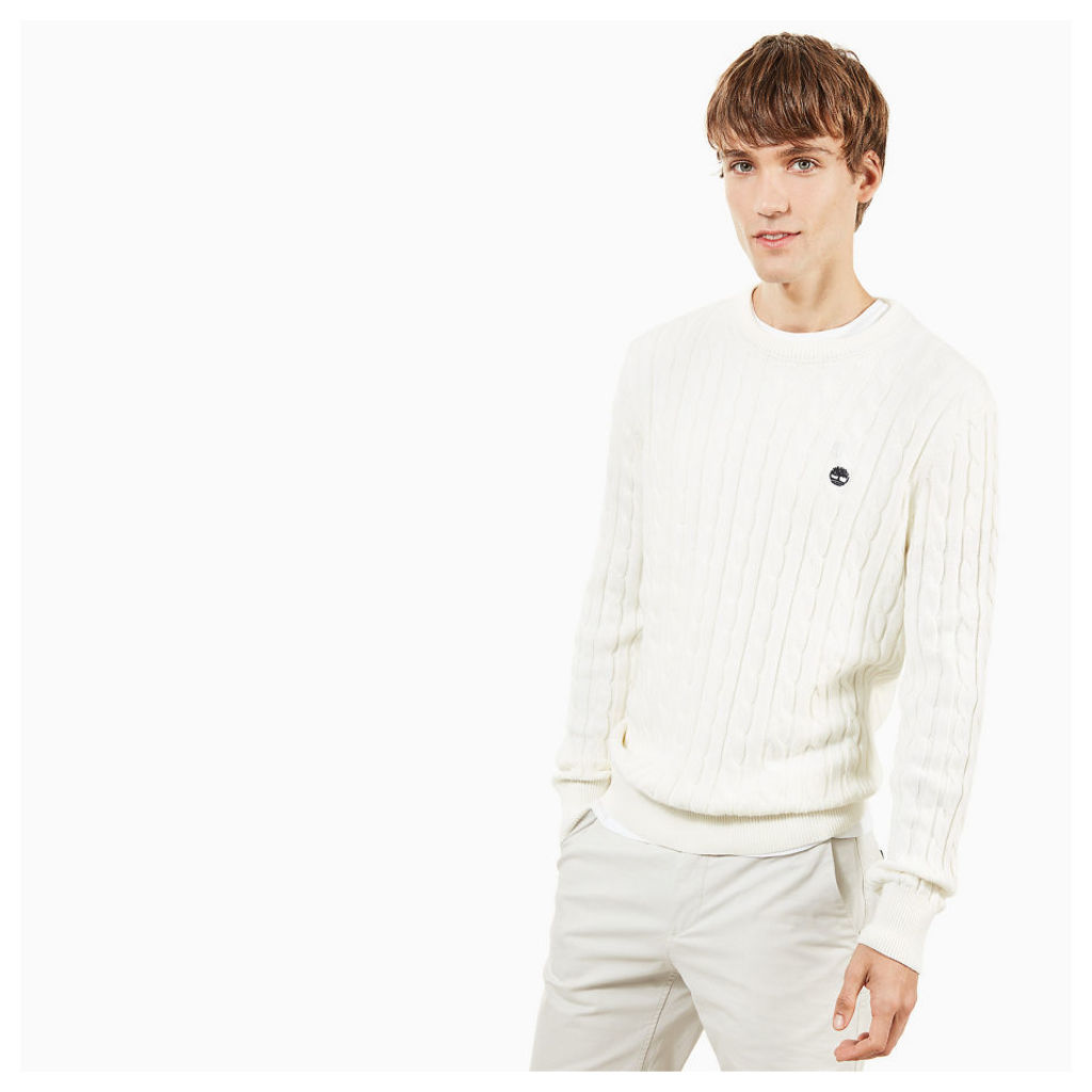Timberland Williams River Cotton Sweater For Men In White White, Size XXL