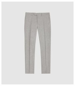 Reiss Time - Cotton Linen Blend Slim Fit Trousers in Light Grey, Mens, Size 38