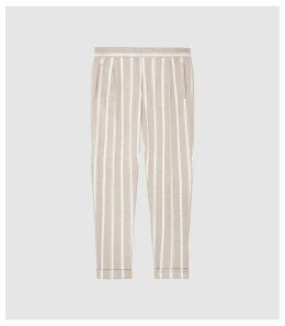 Reiss Morris - Pleat Front Striped Trousers in White, Mens, Size 38