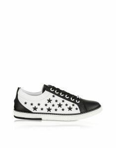 Jimmy Choo Designer Shoes, Black CASH Low Top Trainer w/Black Matt Enamel Stars