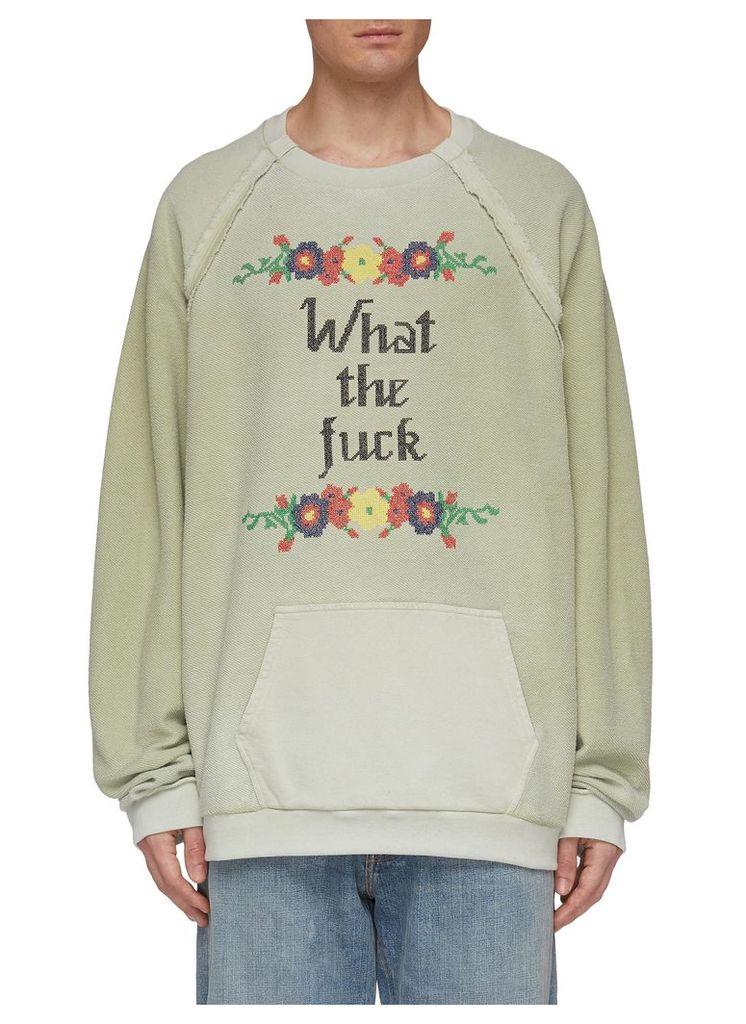 Slogan floral cross stitch terry sweatshirt
