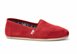 TOMS Red Canvas Men's Classics Slip-On Shoes - Size UK13