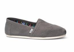 TOMS Grey Canvas Men's Classics Slip-On Shoes - Size UK9