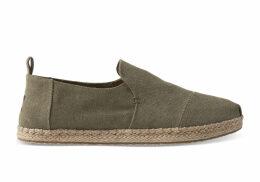 TOMS Green Washed Canvas Men's Deconstructed Alpargatas Shoes - Size UK8.5