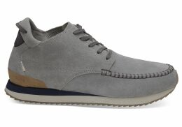 TOMS Water Resistant Neutral Grey Suede Men's Balboa Mid Sneakers Shoes - Size UK6.5