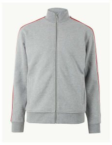 M&S Collection Cotton Rich Sweatshirt with Side Stripe